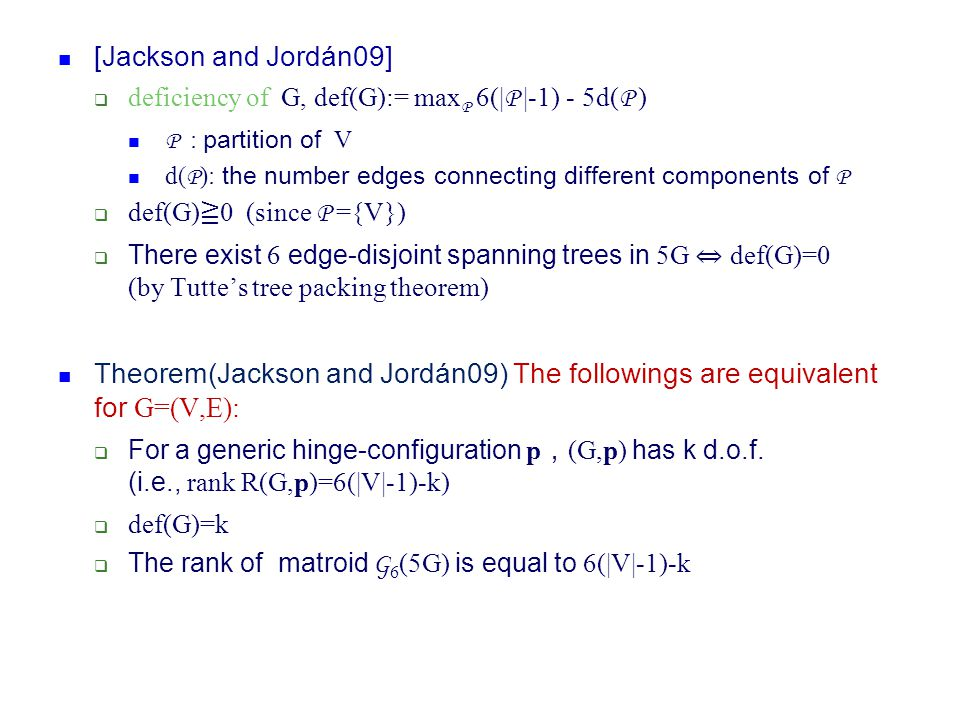 [Jackson and Jordán09] deficiency of G, def(G):= maxP 6(|P |-1) - 5d(P ) P : partition of V.